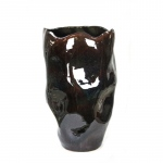 Benzara Abstract Decorative Ceramic Vase, Brown