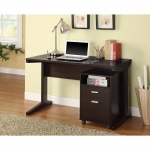 Benzara 2-piece Desk Set With Rolling File Cabinet, Brown