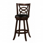 "Benzara 29"" Swivel Bar Stool With Upholstered Seat, Black And Brown"