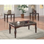 Benzara 3-piece Traditional Faux Marble Occasional Table Set, Brown
