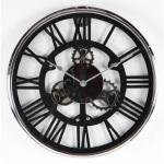 Benzara Appealing Stainless Steel Wall Clock, Black And Silver