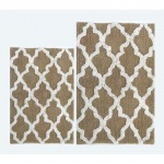 Benzara Beige-white Damask 2 Pc Bath Set
