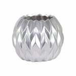 Benzara Ceramic Round Low Vase With Uneven Lip- Large- Silver-