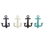 Benzara Anchor Shaped Metal Wall Hooks Set Of 4