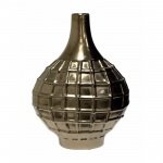 Benzara Ceramic Grenade  Bottle Vase, Bronze