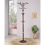 HomeRoots Decor Coat Rack, Espressometal Tube (iron), Wood Espresso