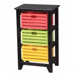 Benzara 3-tier Wooden Storage Cabinet ,black