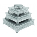 Benzara Aluminum Cake Stand Set Of 4 A Dining Area Specificdecor