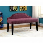 Benzara Hasselt Attractive Spacious Padded Bench With Nail Trim, Small, Purple