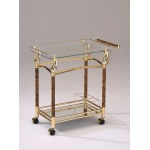 Benzara Alluring Serving Cart, Golden Plated & Clear Glass