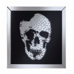 Benzara Adorning Wall Mirror With Jeweled Skull, Clear And Black