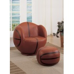 Benzara All Star 2 Piece Pack Chair & Ottoman, Basketball: Brown & Black
