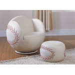 Benzara All Star 2 Piece Pack Chair & Ottoman, Baseball: White