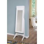 W Unlimited Ashley Modern Long Cheval Mirror Jewelry Cabinet Storage Armoire White