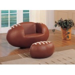 Benzara All Star 2 Piece Pack Chair & Ottoman, Football: Brown & White