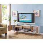 "Benzara 70"" Width Contemporary Style Tv Stand, White And Light Brown"