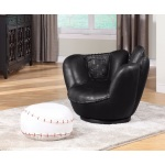 Benzara All Star 2 Piece Pack Chair & Ottoman,baseball  Black And White