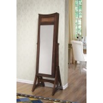 W Unlimited Bedford Classic Long Cheval Mirror Jewelry Cabinet Storage Armoire Brown