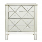"Benzara 16735 32.25"" Wood Mirrored Cabinet 4 Drawer"