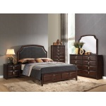 Benzara Classy And Stylish Queen Size Panel Bed, Brown And Grey