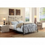 Benzara Accentuated Metal Eastern King Size Bed With Headboard & Footboard, Black