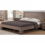 Benzara Beautiful Brown Finish Queen Size Platform Bed With Comfortable Headboard.