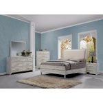 Benzara Antique Style Wooden Queen Size Panel Bed, White