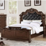 Benzara Carved & Upholstered Black Pu Tufted Wooden Queen Bed Dark Walnut