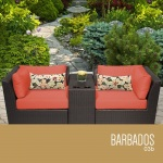HomeRoots Outdoor Barbados 3 Piece Outdoor Wicker Patio Furniture Set 03b