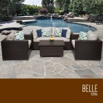 HomeRoots Outdoor Belle 5 Piece Outdoor Wicker Patio Furniture Set 05b