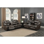 HomeRoots Furniture 2-piece Reclining Sofa And Loveseat W/ Storage Console Set
