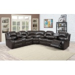 HomeRoots Furniture 3- Sectional W/ 4 Recliners And Storage Console