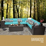 HomeRoots Outdoor Barbados 9 Piece Outdoor Wicker Patio Furniture Set 09b