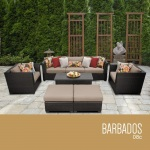 HomeRoots Outdoor Barbados 8 Piece Outdoor Wicker Patio Furniture Set 08c