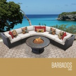 HomeRoots Outdoor Barbados 6 Piece Outdoor Wicker Patio Furniture Set 06l