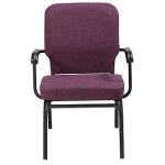 "KFI ""HTB1041"" Series 3.5"" Seat Stack Chair with Grade 1 Fabric, With Arms"